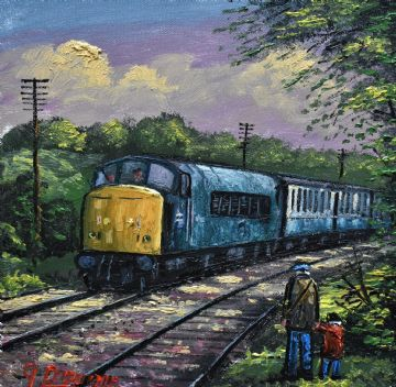 James Downie Original Oil Painting Trainspotting With Dad